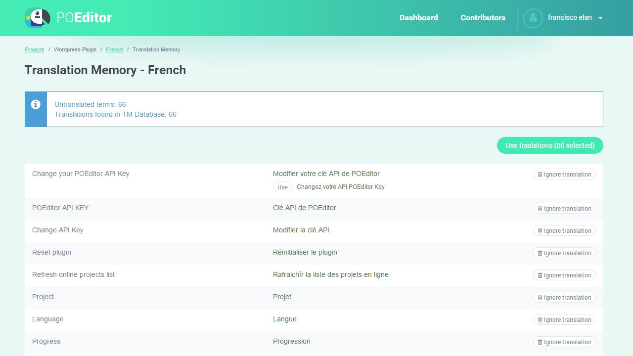 POEditor localization platform - Translation Memory