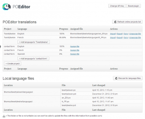POEditor WordPress translation plugin - Main page