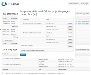 Assign local language file to translation project - POEditor localization management platform