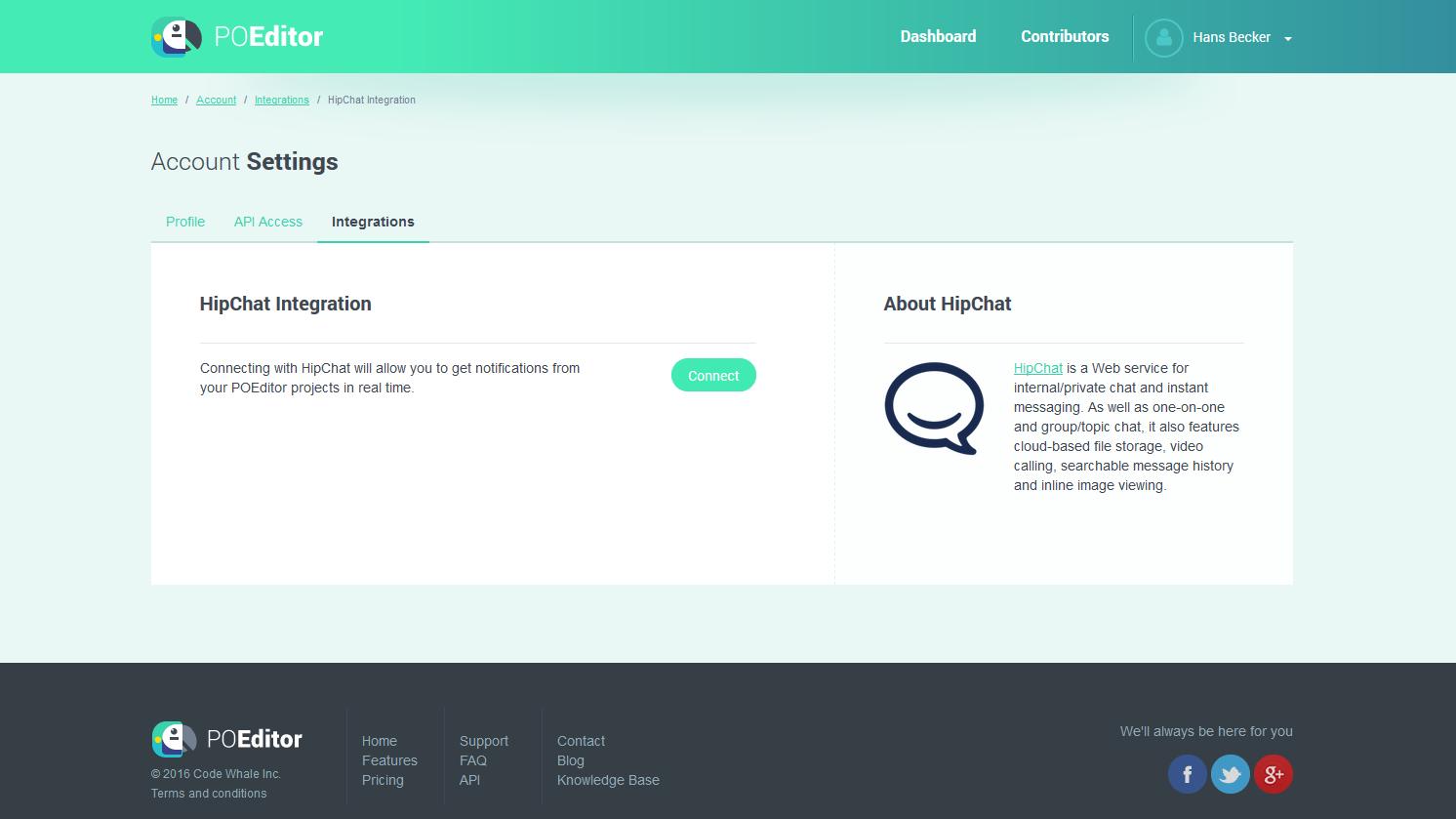 HipChat Integration Page - POEditor Localization Platform