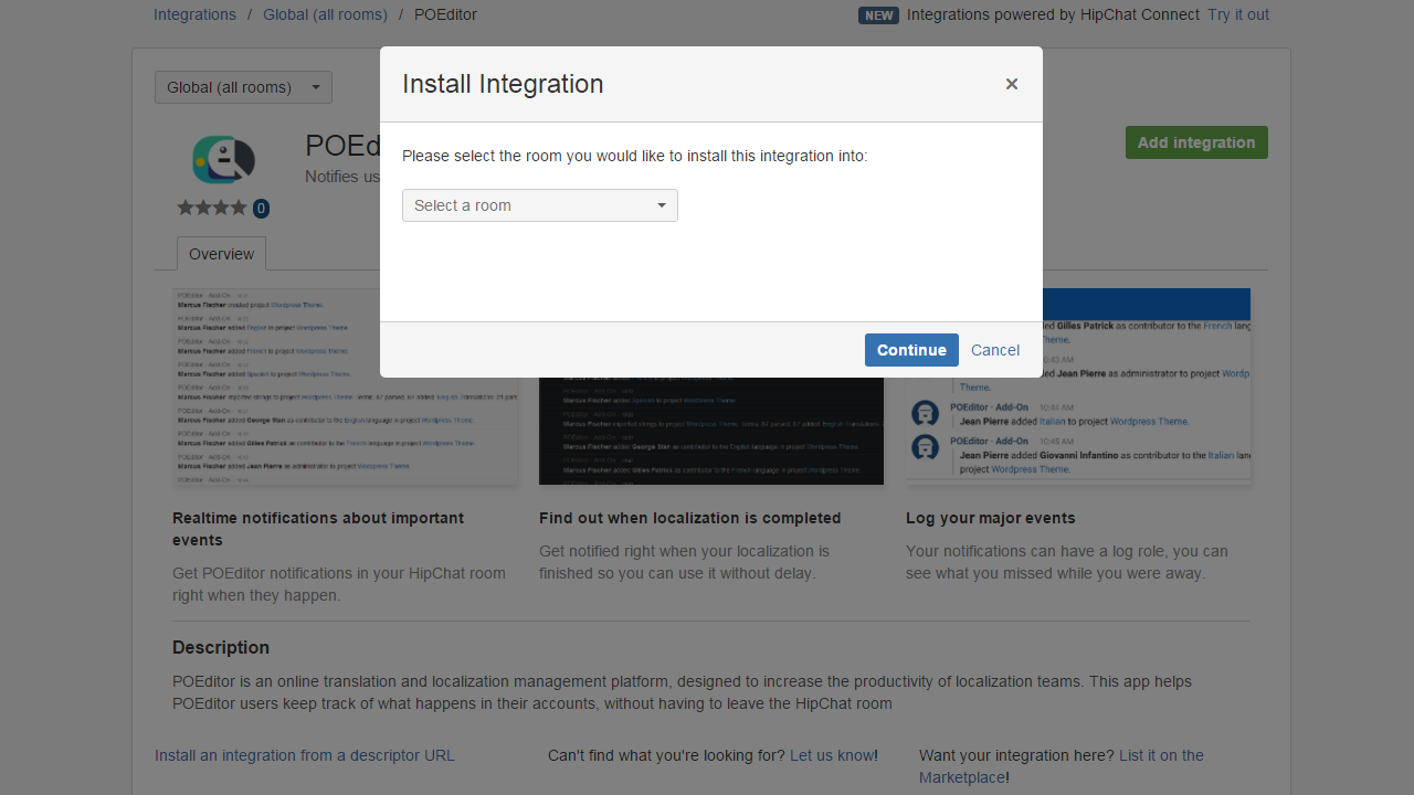 Select room (HipChat Integration) - POEditor Localization Tool