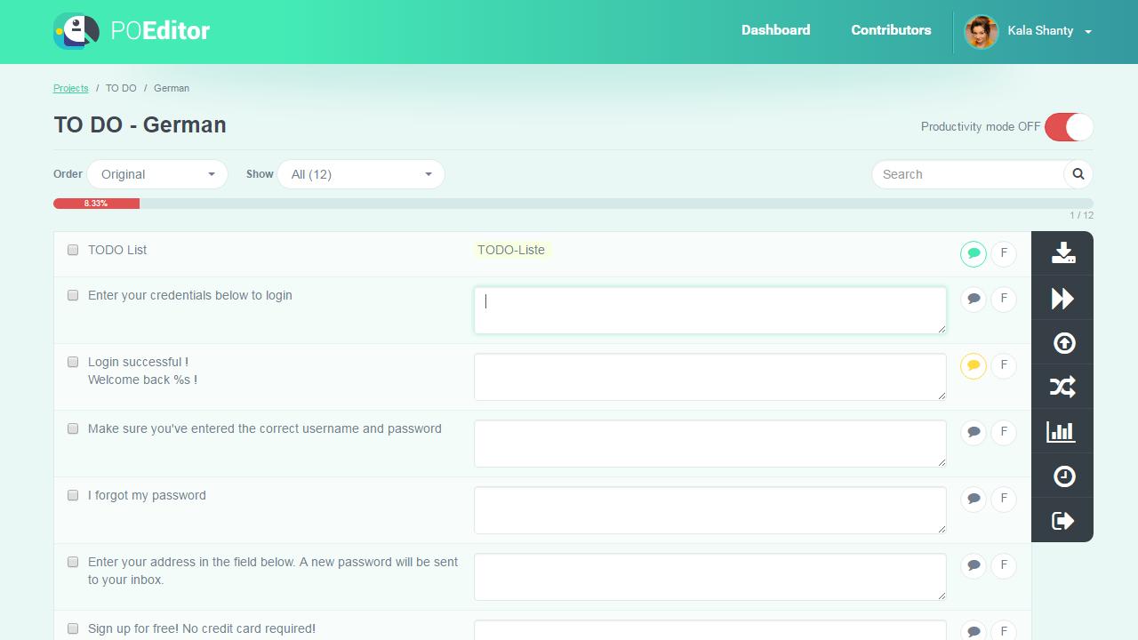 Add Translation in Language Page - POEditor Translation Management Platform