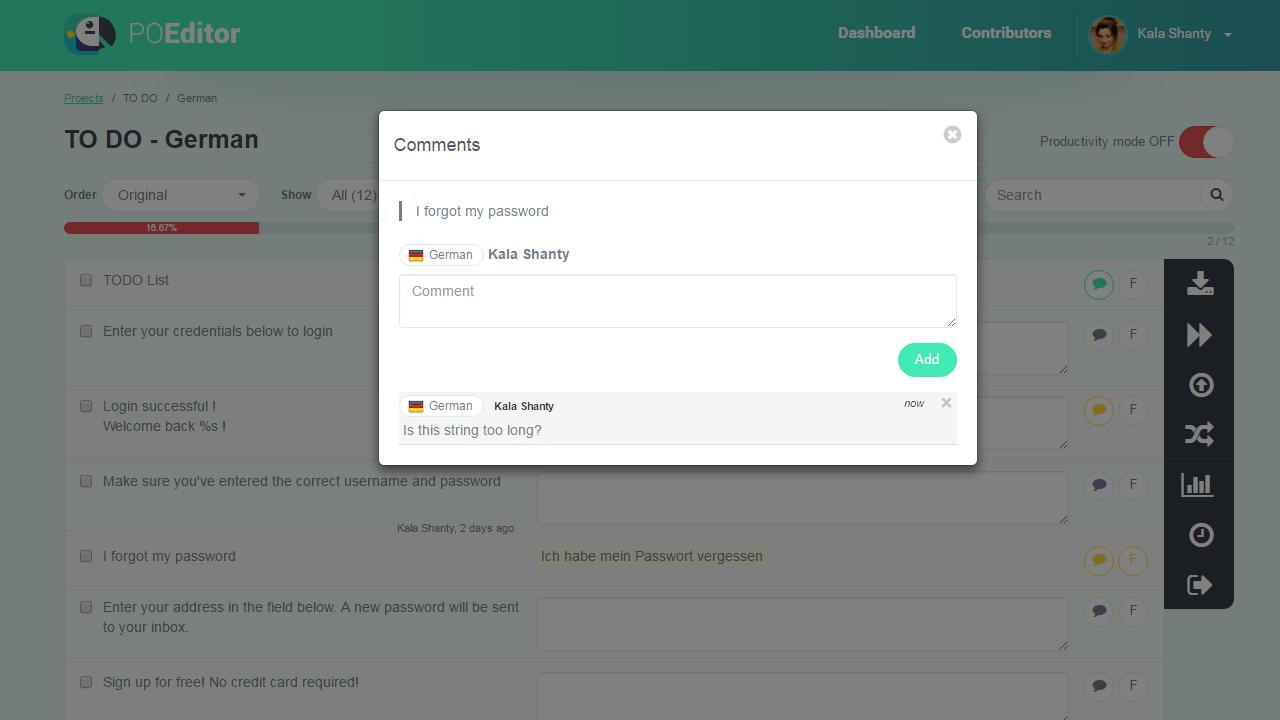 Add comment on string- POEditor Translation Management Platform