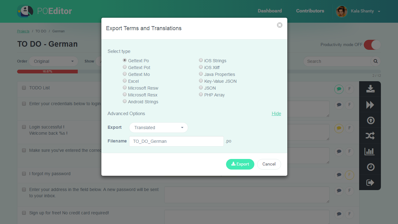 Download strings to file - POEditor Translation Management Platform