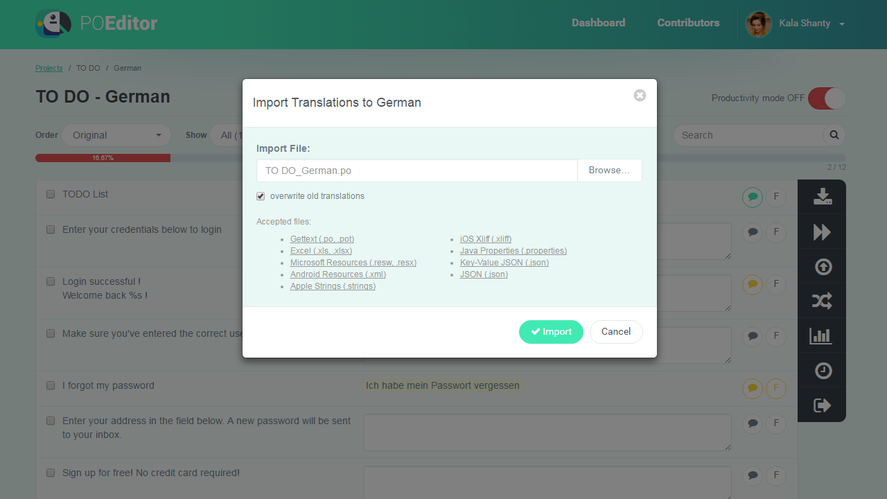 Import Translations from File - POEditor Translation Management Platform