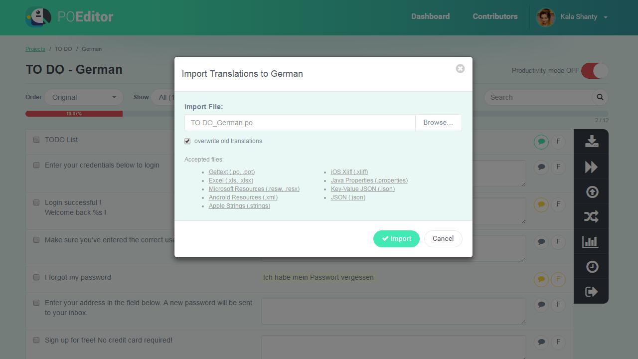 Import Translations from File - POEditor Translation Management Platform