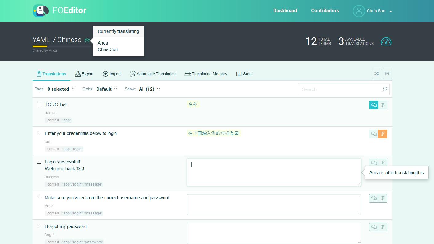 Realtime Translation System - POEditor Translation Management Platform