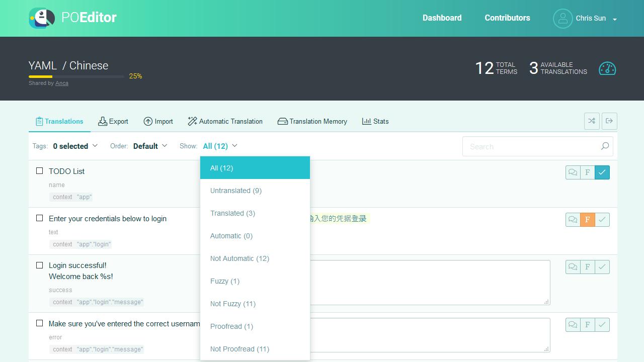 Filter strings - POEditor Translation Management Platform