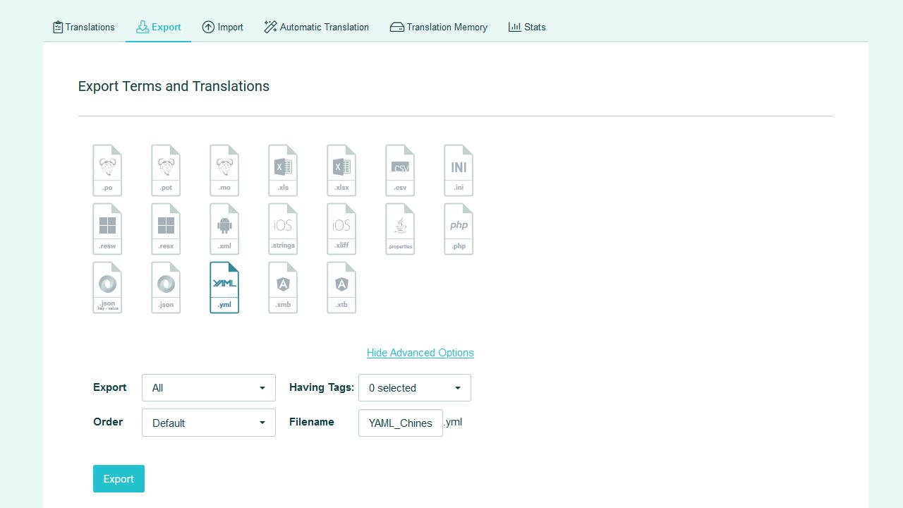 Download strings to file - POEditor Translation Management Platform