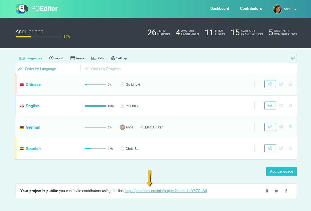 Public Project Page - POEditor Localization Platform