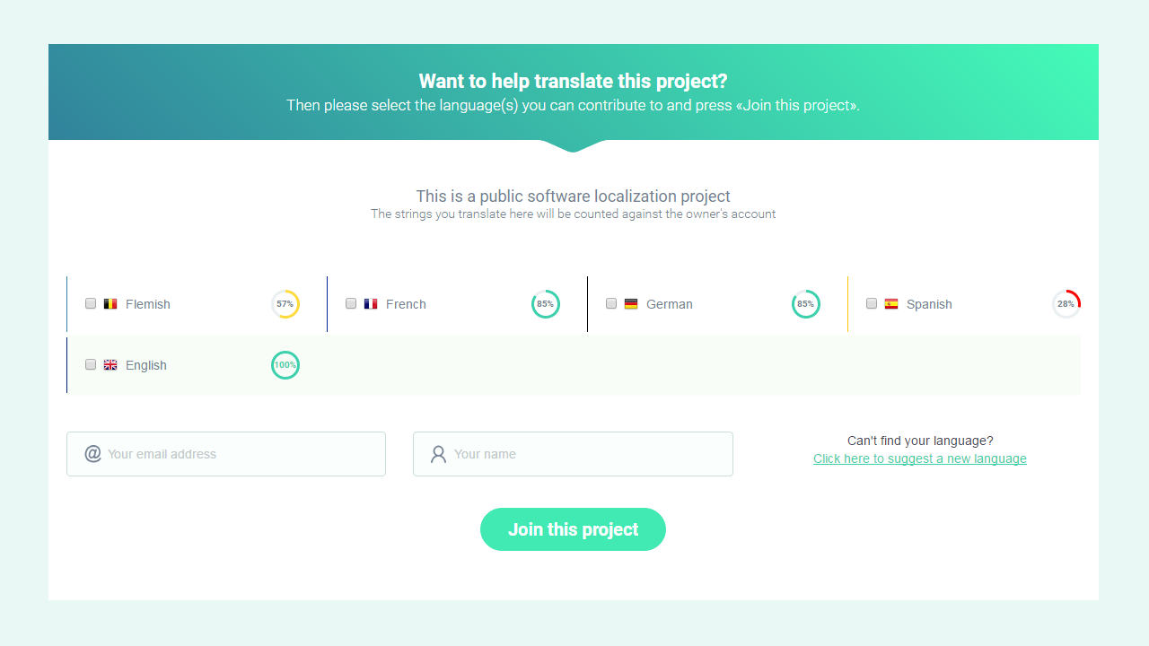 A public join page for crowdsourcing translators - POEditor localization platform