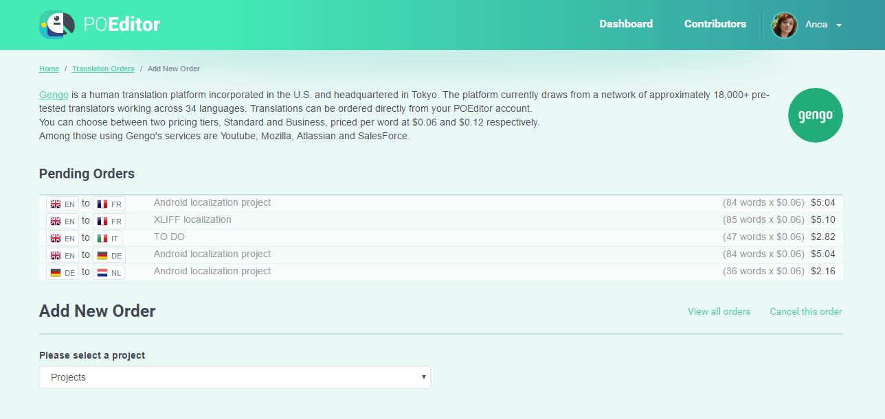 Add human translation order - POEditor localization platform