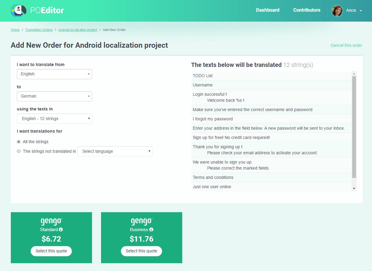Human translation module - POEditor localization management platform
