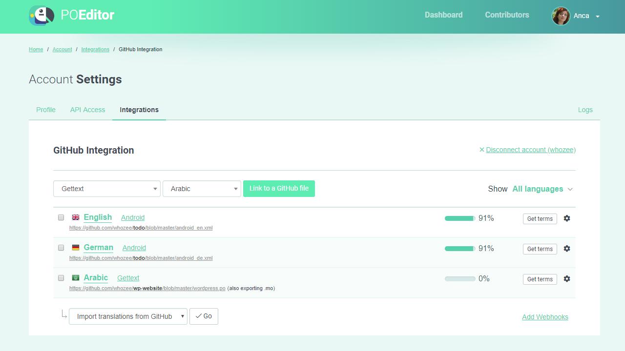 POEditor GitHub Integration Page