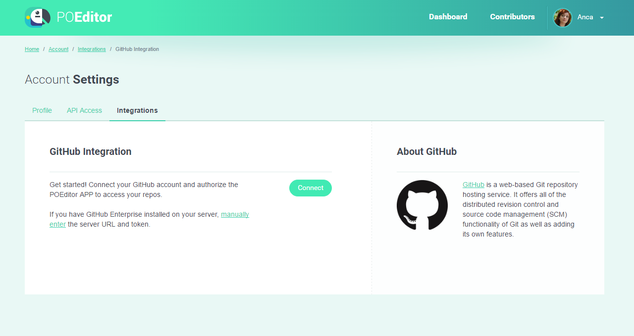 GitHub Integration - POEditor localization platform