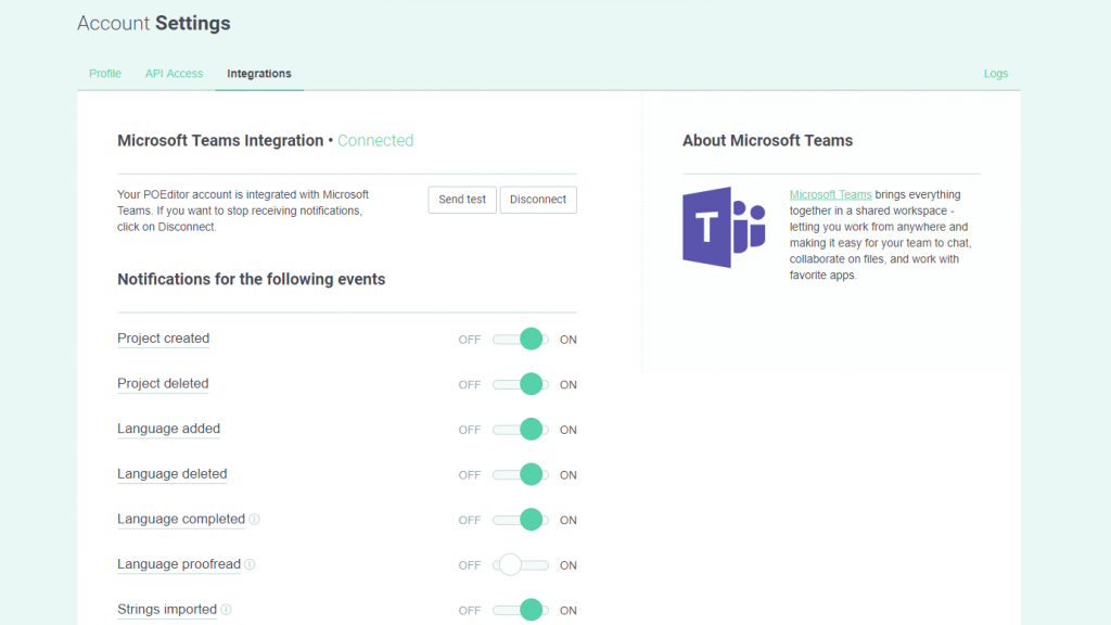 Microsoft Teams integration settings - POEditor translation and localization management system