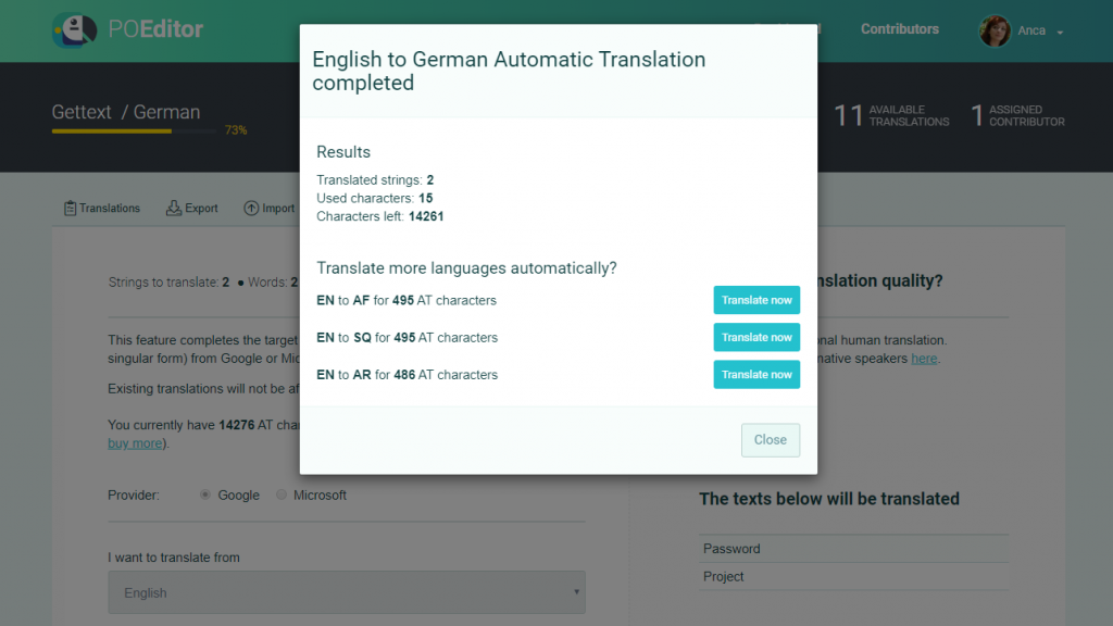 Machine translate multiple languages - POEditor