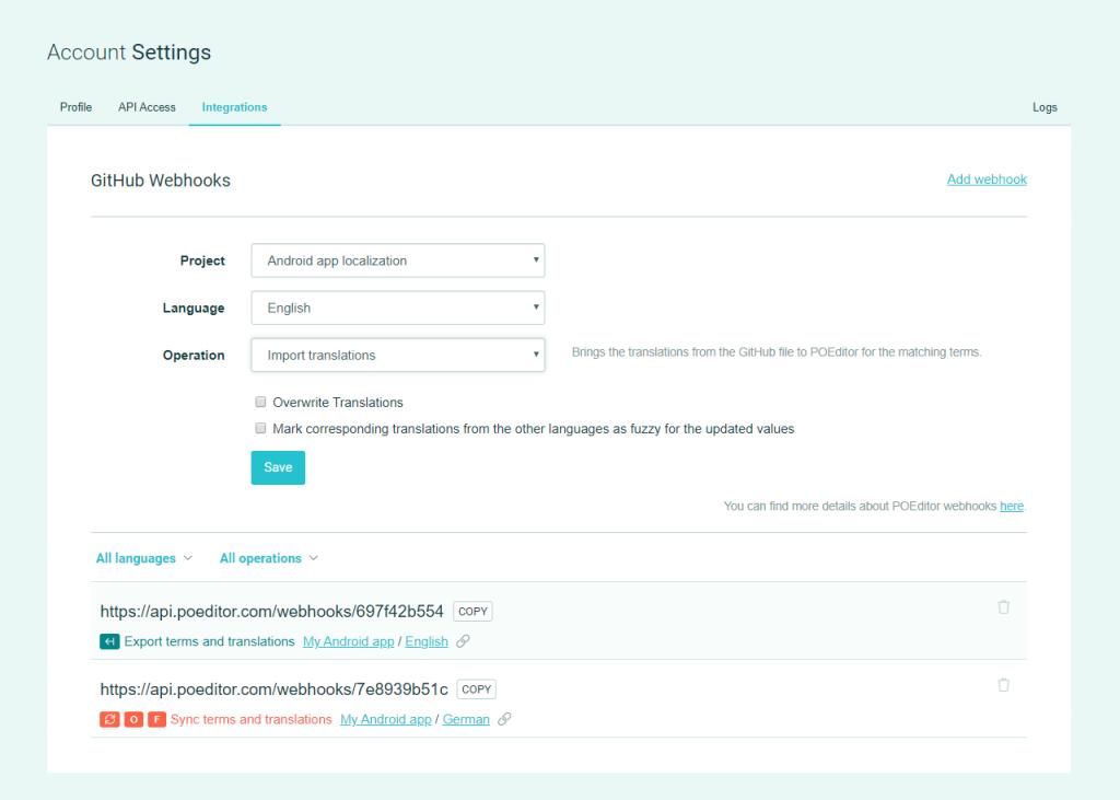 Webhooks Generator - POEditor localization management platform