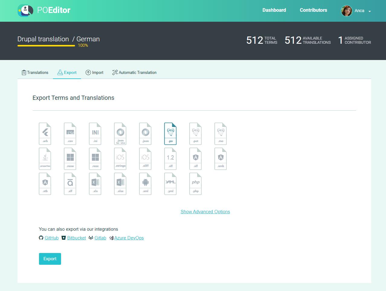 Export PO file (Export page) - POEditor translation management system