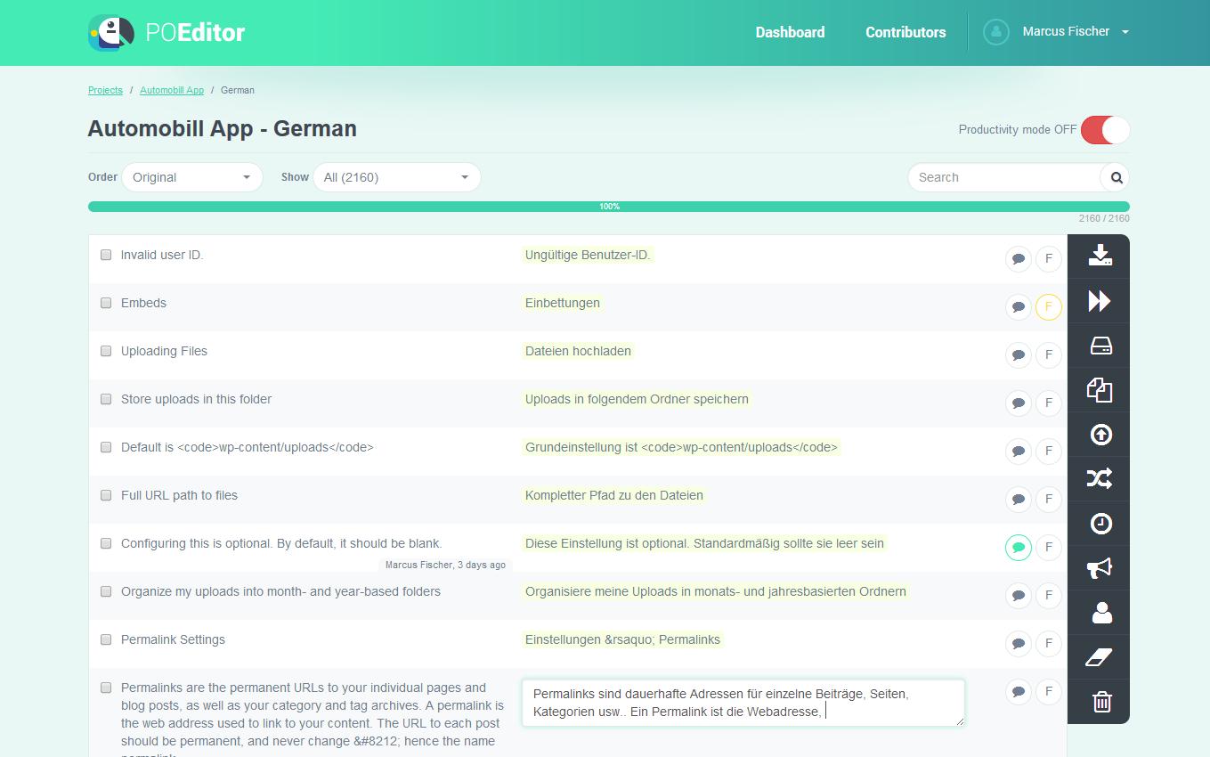 POEditor localization platform - Language page