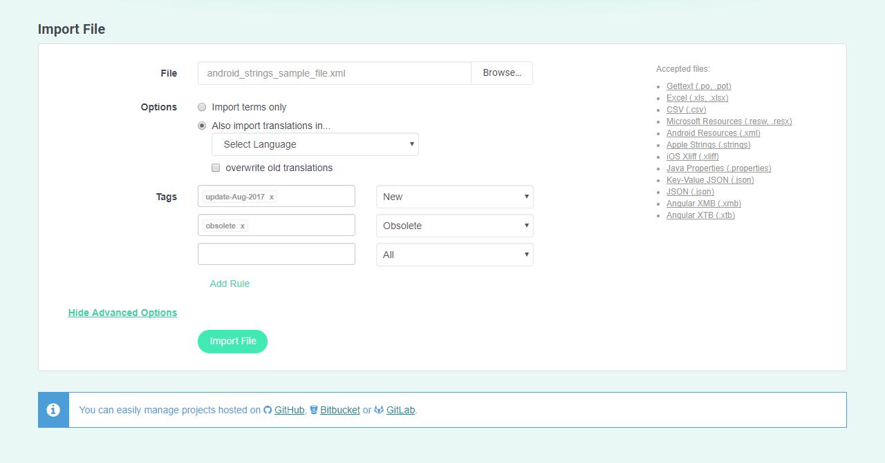 POEditor localization management platform - Tagging System