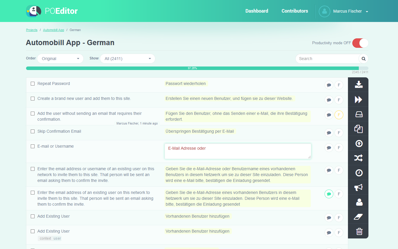 POEditor localization management platform - Language page