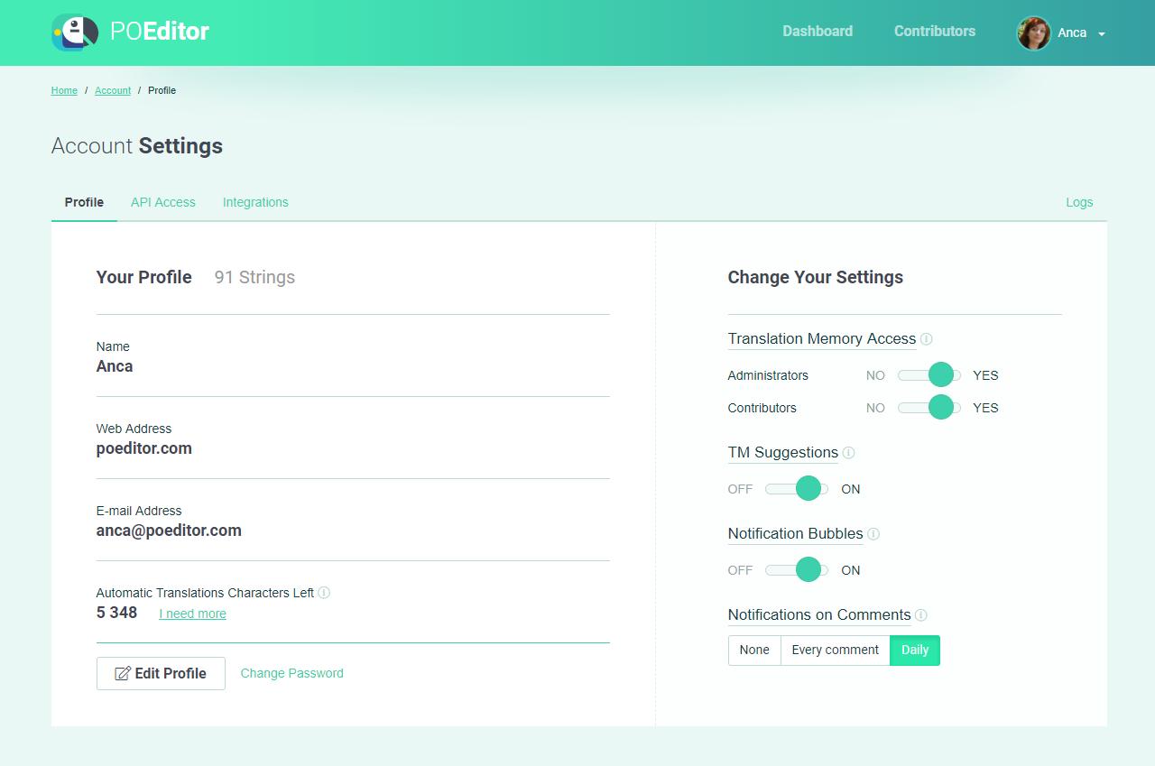 POEditor localization management platform - Account Settings