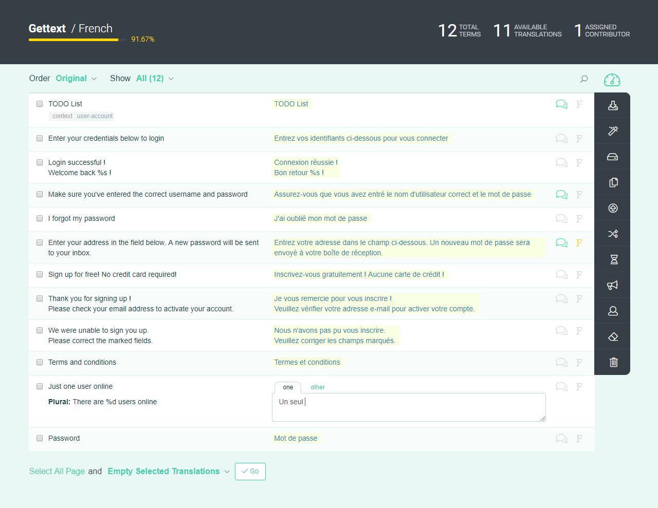 POEditor localization management platform - Language page