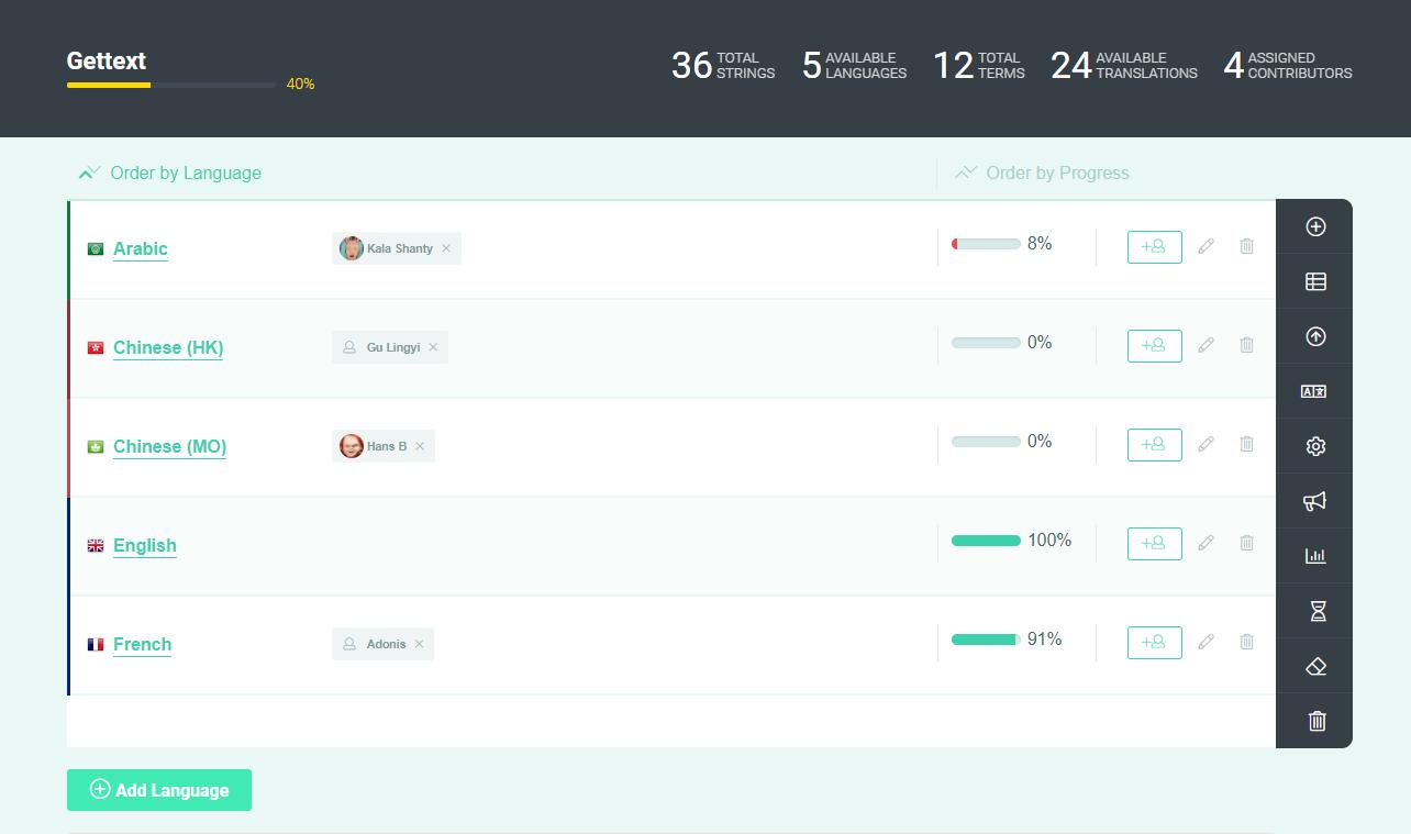 POEditor localization management platform - Project page
